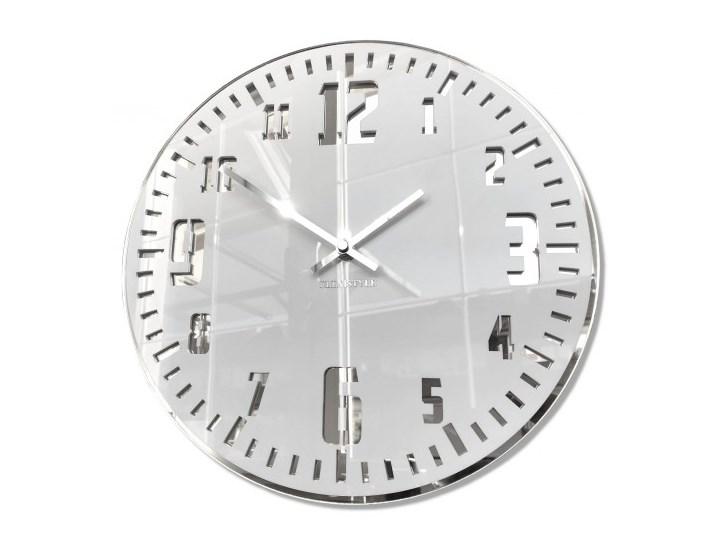 Duży zegar ścienny UNIQUE lustro srebrne