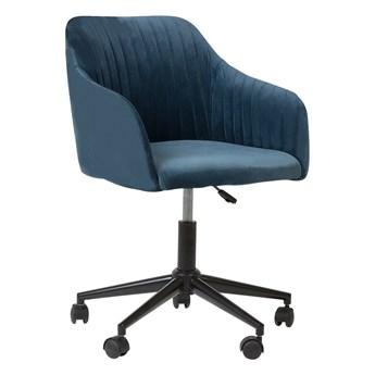 Fotel biurowy niebieski welur z podłokietnikami obrotowy regulacja wysokości Beliani