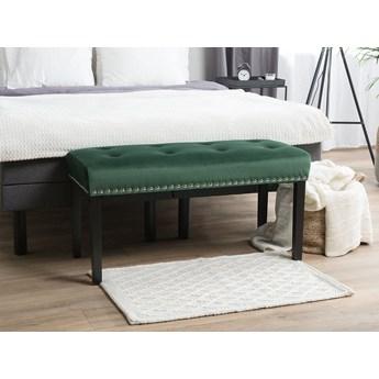 Ławka tapicerowana zielona welurowa pikowana z ozdbonymi ćwiekami do sypialni