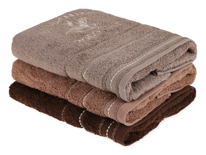 Zestaw 3 brązowych ręczników do rąk, 90x50 cm