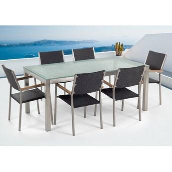 Zestaw ogrodowy stół z krzesłami blat szkło hartowane efekt tłuczonego szkła 180 x 90 cm 6 krzeseł czarnych z technorattanu sztaplowanych