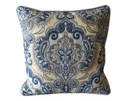 BOMBAJ poduszka żakard welur błękitny  / biały / szary, kwadratowa 40x40 cm
