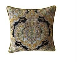 BOMBAJ poduszka żakard welur, brązowy /  zielony / żółty / biały / czarny, kwadratowa 40x40 cm