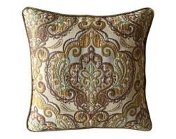 BOMBAJ poduszka żakard welur, żakard żółty / biały / brązowy / zielony, kwadratowa 40x40 cm
