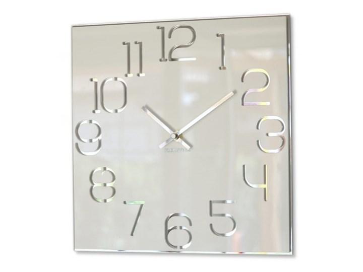 Kwadratowy zegar ścienny biały DIGIT 30cm Metal Styl Nowoczesny Szkło Pomieszczenie Salon