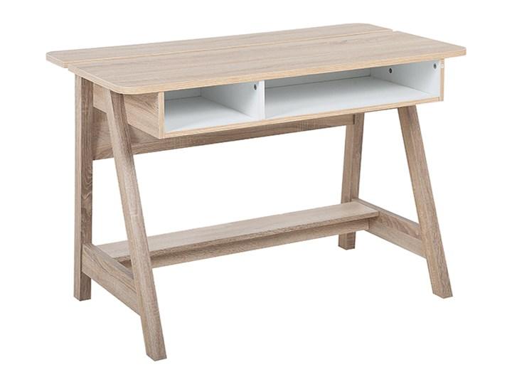 Biurko jasne drewno 110 x 60 x 75 cm styl skandynawski Biurko konsola Szerokość 110 cm Głębokość 60 cm Płyta MDF Kolor Beżowy
