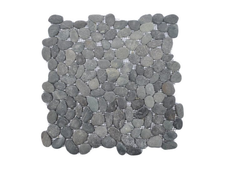 Black Sumba Interlock Czarne Otoczaki Mozaika Kamienna Na Siatce Industone