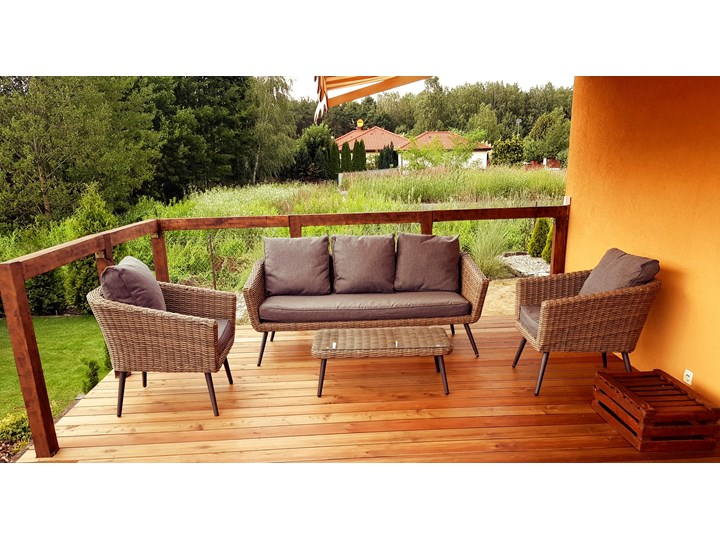 Nowoczesne meble z technorattanu ANTICO sofa 3 osobowa Tworzywo sztuczne Aluminium Zestawy wypoczynkowe Zawartość zestawu Fotele