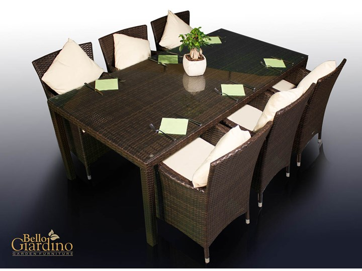Meble obiadowe z czarnego technorattanu GUSTOSO Aluminium Zestawy obiadowe Stoły z krzesłami Zawartość zestawu Krzesła Tworzywo sztuczne Kolor Czarny