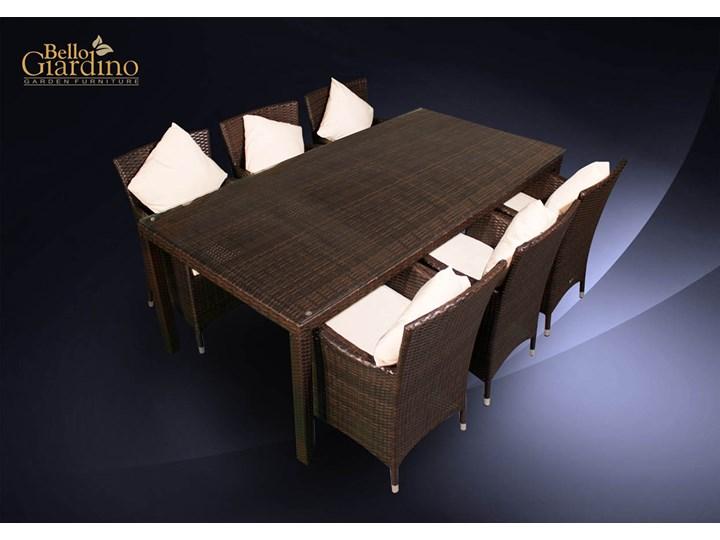 Meble obiadowe z czarnego technorattanu GUSTOSO Zestawy obiadowe Tworzywo sztuczne Stoły z krzesłami Aluminium Zawartość zestawu Krzesła