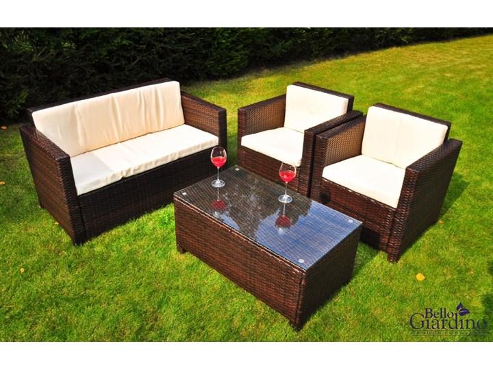 Zestaw ogrodowy CALMO brązowy technorattan Zestawy wypoczynkowe Tworzywo sztuczne Stal Kolor Beżowy Zawartość zestawu Sofa