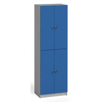 Szafka ubraniowa drewniana, niebieska