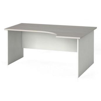Stół biurowy ergonomiczny 160 x 120 cm, biały/dąb naturalny, prawy