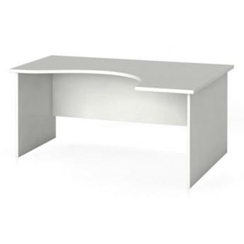 Biurko narożne PRIMO, zaokrąglone 160 x 120 cm, białe, prawe