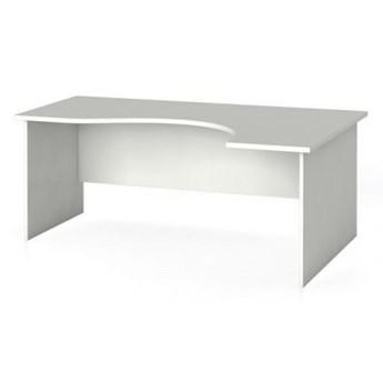 Biurko narożne PRIMO, zaokrąglone 180 x 120 cm, białe, prawe
