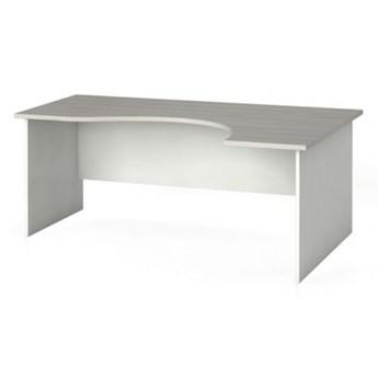 Narożny stół biurowy, zaokrąglony 180 x 120 cm, biały/dąb naturalny, prawy