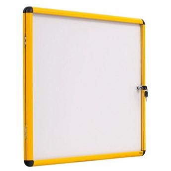 Gablota z białą magnetyczną powierzchnią, żółta ramka, 720x674 mm (6xA4)