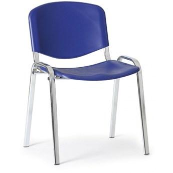 Plastikowe krzesło ISO, niebieski - kolor konstrucji chrom
