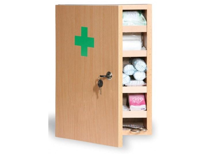 Drewniana apteczka ścienna, 43x30x14 cm, buk, bez zawartości Głębokość 30 cm Wiszące Wysokość 43 cm Płyta MDF Szerokość 30 cm Drewno Kolor Zielony