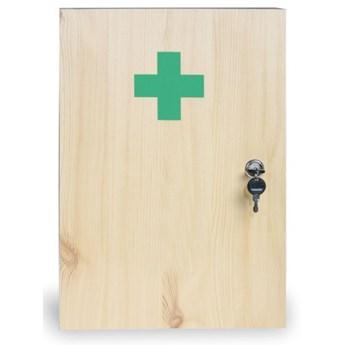 Drewniana apteczka ścienna, 43x30x14 cm, świerk, DIN 13169