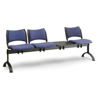 Ławka do poczekalni tapicerowana SMART, 3 siedzenia + stołek, czarny, czarne nogi