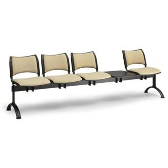 Ławka do poczekalni tapicerowana SMART, 4 siedzenia + stołek, czarny, czarne nogi