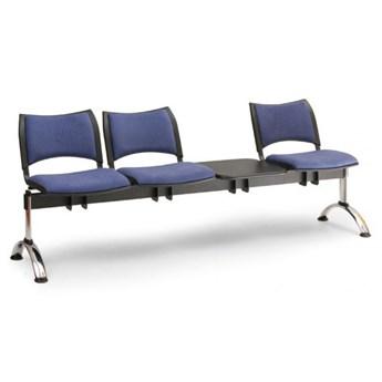 Ławka do poczekalni tapicerowana SMART, 3 siedzenia + stołek, czarny, chromowane nogi