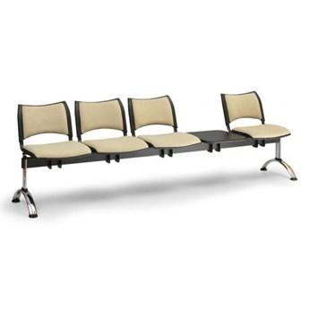 Ławka do poczekalni tapicerowana SMART, 4 siedzenia + stołek, niebieski, chromowane nogi