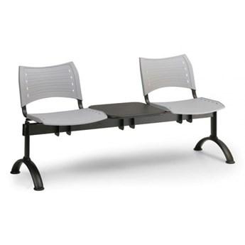 Ławka do poczekalni plastikowa VISIO, 2 siedzenia + stołek, niebieski, czarne nogi