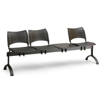 Ławka do poczekalni plastikowa VISIO, 3 siedzenia + stołek, niebieski, czarne nogi