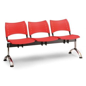 Ławka do poczekalni plastikowa VISIO, 3 siedzenia, niebieski, chromowane nogi
