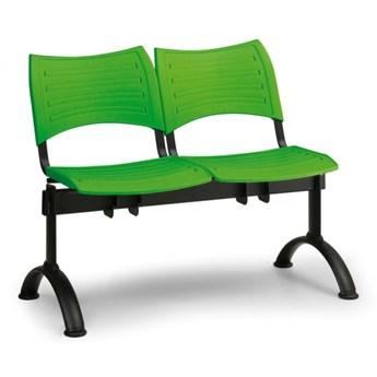 Ławka do poczekalni plastikowa VISIO, 2 siedzenia, zielony, czarne nogi