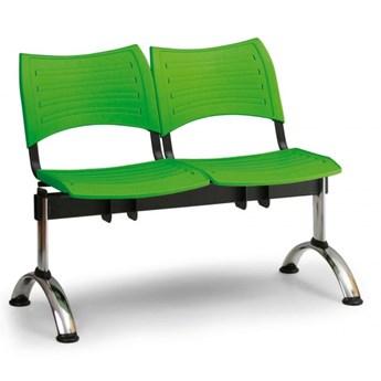 Ławka do poczekalni plastikowa VISIO, 2 siedzenia, zielony, chromowane nogi