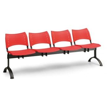 Ławka do poczekalni plastikowa VISIO, 4 siedzenia, czarny, chromowane nogi