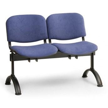 Ławka do poczekalni tapicerowana VIVA, 2-siedziska, niebieski, czarne nogi
