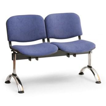Ławka do poczekalni tapicerowana VIVA, 2-siedziska, niebieski, chromowane nogi