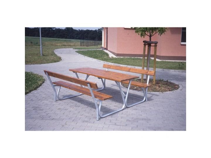 Stół z ławkami i oparciami Zintegrowane ze stołem Długość 120 cm Stal Kolor Brązowy