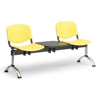 Ławka do poczekalni plastikowa ISO, 2-siedziska + stolik, żółty, chromowane nogi