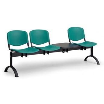 Ławka do poczekalni plastikowa ISO, 3-siedziska + stolik, zielony, czarne nogi