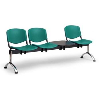 Ławka do poczekalni plastikowa ISO, 3-siedziska + stolik, zielony, chromowane nogi