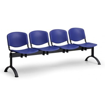 Ławka do poczekalni plastikowa ISO, 4-siedziska, żółty, czarne nogi