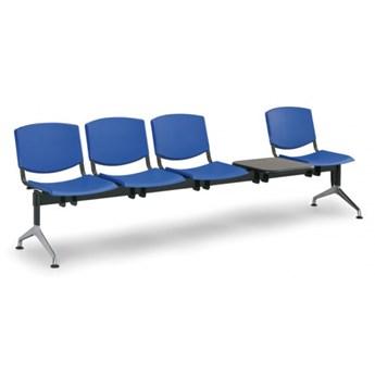 Ławka do poczekalni plastikowa SMILE, 4-siedzenia + stolik, niebieska