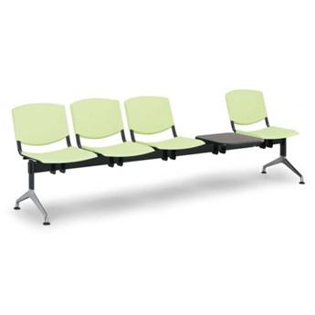 Ławka do poczekalni plastikowa SMILE, 4-siedzenia + stolik, zielony