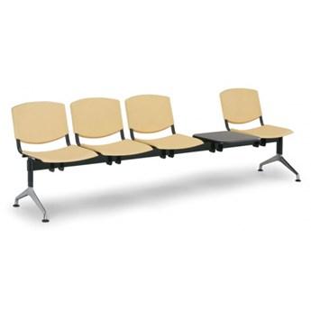 Ławka do poczekalni plastikowa SMILE, 4-siedzenia + stolik, żółta