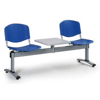 Ławka do poczekalni plastikowa LIVORNO - 2 siedziska + stołek, niebieski