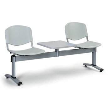 Ławka do poczekalni plastikowa LIVORNO - 2 siedziska + stołek, szary