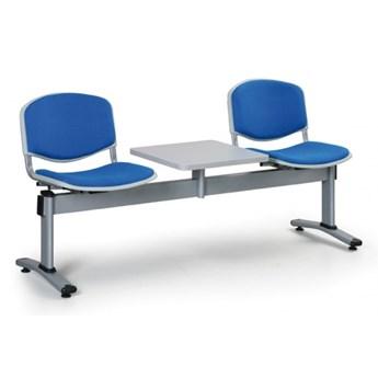 Ławka do poczekalni LIVORNO, tapicerowana 2 siedzenia + stołek, niebieski