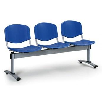 Ławka do poczekalni plastikowa LIVORNO - 3 siedziska, niebieski