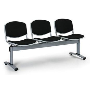 Ławka do poczekalni LIVORNO, tapicerowana 3 siedzenia, czarny