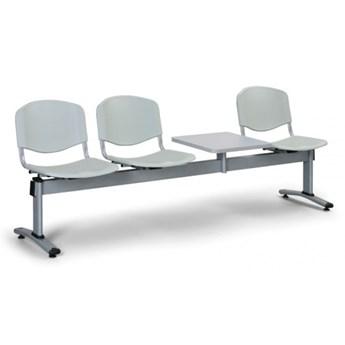 Ławka do poczekalni plastikowa LIVORNO - 3 siedziska + stołek, szary